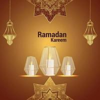 islamitische festival uitnodiging wenskaart met kristallen lantaarn op patroonachtergrond vector