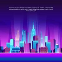 stedelijke grote stad gebouw wolkenkrabber pop gradiënt moderne neon gloed kleur landschap scène illustratie met zee en kleurrijke paarse gradiënt nacht achtergrond vector