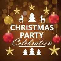 vrolijk kerstfeest feest achtergrond met creatieve feestbal vector