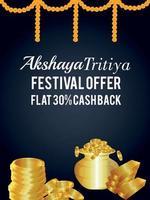 akshaya tritiya indiase festivalviering verkoopaanbieding met gouden muntenpoot vector