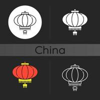 Chinese lantaarn donker thema icoon vector