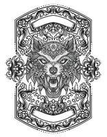 wolf hoofd mandala zentanglestijl met vintage ornamentvlam vector