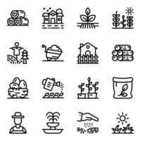 landbouwgrond glyph pictogrammen vector