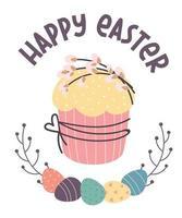 gelukkige pasen-wenskaart. paascake, beschilderde eieren, wilgentakjes. platte vectorillustratie vector
