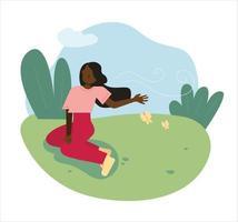 een vrouw zit op het gras in het park en voelt de wind vector