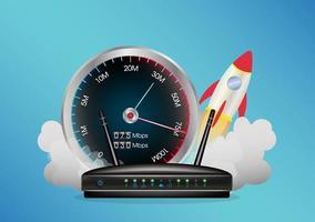 een router met zaadmeter en raket vector