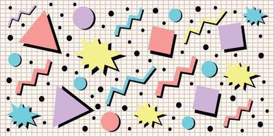 90s stijl achtergrond met pastel geometrische vormen vector