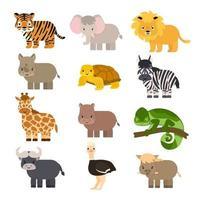 set van eenvoudige vector cartoon geïsoleerde savanne dieren in vlakke stijl. tijger, leeuw, neushoorn, wrattenzwijn, Afrikaanse buffel, schildpad, kameleon zebra struisvogel, olifant, giraf, nijlpaard voor kinderen