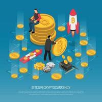 bitcoin cryptocurrency technologie isometrische poster vectorillustratie vector