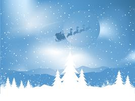 Kerstman op een sneeuwnacht vector
