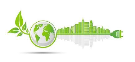 ecologie en milieuconcept, aardsymbool met groene bladeren rond steden helpen de wereld met milieuvriendelijke ideeën vector