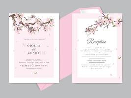 mooie bruiloft uitnodiging kersenbloesem thema vector