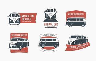 vintage van logo collectie vector