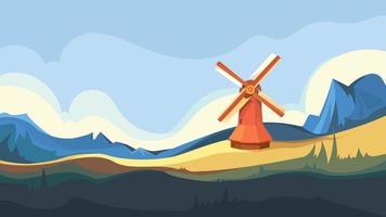 windmolen op de top van de berg vector
