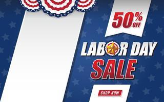 Dag van de arbeid verkoop achtergrondontwerp met de vlag van de Verenigde Staten en zwarte ruimte