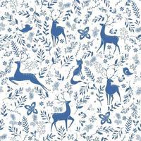 winter naadloze vector patroon met hulst bessen, herten, vossen, vogels en kersttak. onderdeel van kerst achtergronden collectie. kan worden gebruikt voor behang, opvulpatronen, oppervlaktestructuren, stoffenprints.