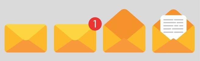 vier pictogrammen met enveloppen van boodschappers - vector