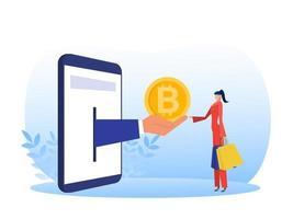 vrouw die met aankoop van digitale virtuele elektronische munten bitcoins op smartphone vectorillustrator winkelt vector