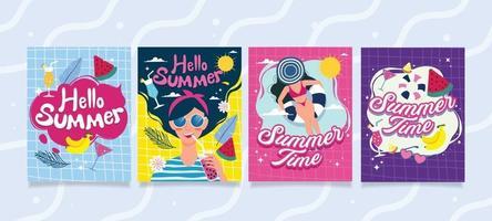 leuke zomer kleurrijke kaartenset vector