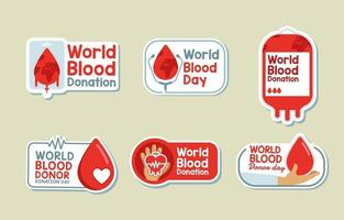 Wereldbloeddag stickercollectie vector