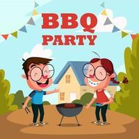 jongen en meisje grillen en barbecue partij buitenactiviteit vector