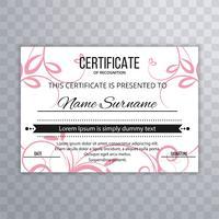 Abstract certificaatmalplaatje bloemenontwerp