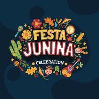 kleurrijke festa junina vieringsachtergrond vector
