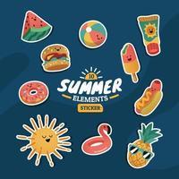 schattige zomerelementen sticker set met witte streep vector