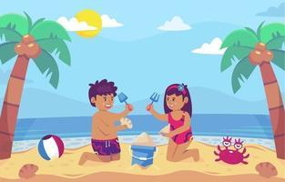 cartoon van paar spelen zand op strand achtergrond vector
