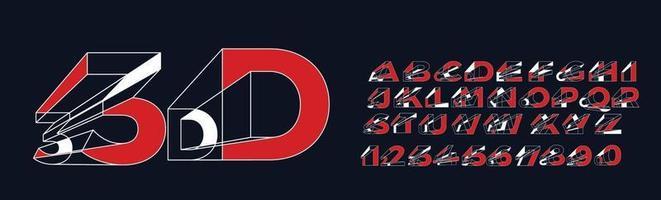 3D geometrische alfabet lettertype. letters, cijfers en symbolen. vector