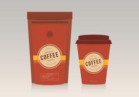 Koffiezakjespak met koffieglasmalplaatje vector