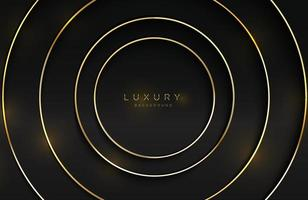 realistische 3D-achtergrond met glanzende gouden ringvorm vector gouden cirkelvorm op zwart oppervlak