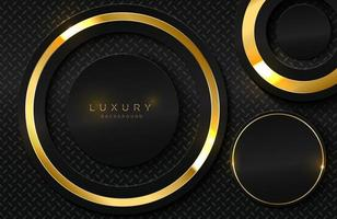 realistische 3d achtergrond met glanzende gouden cirkelvorm vector gouden cirkelvorm op zwart oppervlak grafisch ontwerpelement