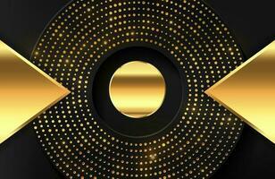 abstracte geometrische 3d achtergrond met realistisch gouden effect Geometrische vectorillustratie van gouden vorm met gouden halftoonpunten vector