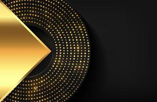 geometrische 3d achtergrond met glanzend gouden element Geometrische vectorillustratie van gouden vormen geweven met gouden glinsterende puntjes vector