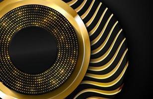 luxe 3d-realistische achtergrond met gouden cirkelvorm vectorillustratie van zwarte cirkelvormen getextureerd met gouden golvende lijnen vector