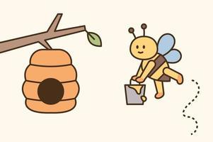 een schattige bij draagt honing in een emmer en brengt het naar huis vector