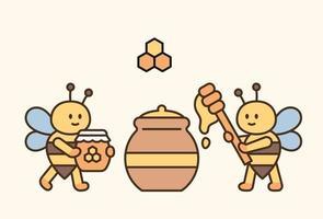 schattige bijen verzamelen honing in een grote pot vector