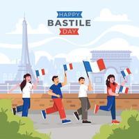 mensen vieren bastille-dag vector