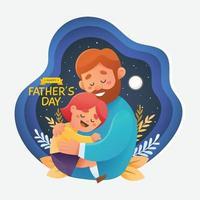 vader knuffelen dochter aan de nachtelijke hemel vector