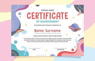 kleurrijke school certificaatsjabloon vector