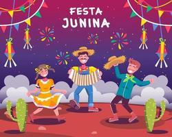 gelukkige mensen in festa junina-viering vector