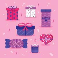 set van kleurrijke cadeausjabloon vector