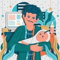 vader werkt vanuit huis terwijl de baby zijn baby zit vector