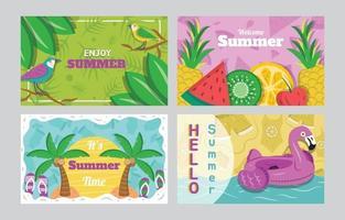 zomer kaartenset sjabloon vector