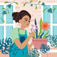 tuinieren thuis met vrouw en planten sjabloon vector