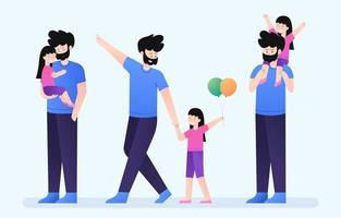 karakterverzameling voor vader en kinderen vector