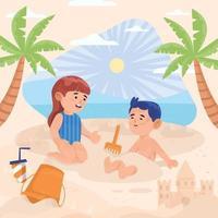 jongen en meisje spelen zand op het strand tijdens het concept van de zomervakantie vector