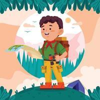 boyscout kaart lezen tijdens zomerkamp vakantie concept vector