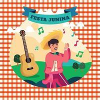 gitarist viert festa junina festivalconcept vector